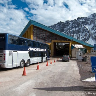 The bus parked up at the Chilean border crossing