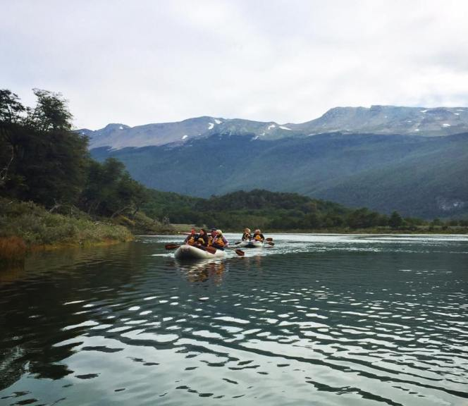 Canoeing through the Tierra del Fuego national park