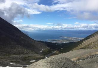 Looking back down into Ushuaia and the Beagle Channel