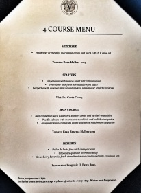 The 4 course meal with wine pairing for the grand total of £33 / US$45