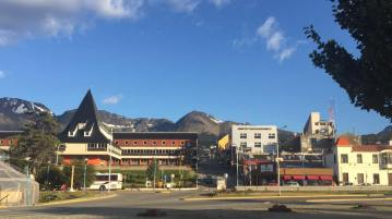 Looking up into Ushuaia