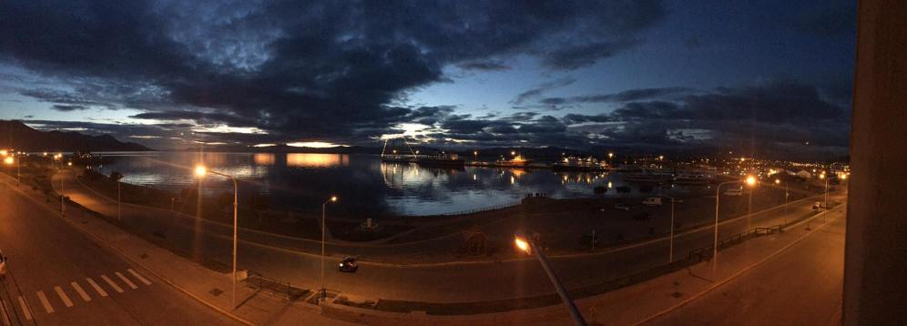 Panoramic view of dusk Ushuaia