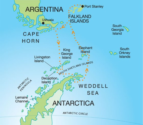Ushuaia in relation to Antarctica
