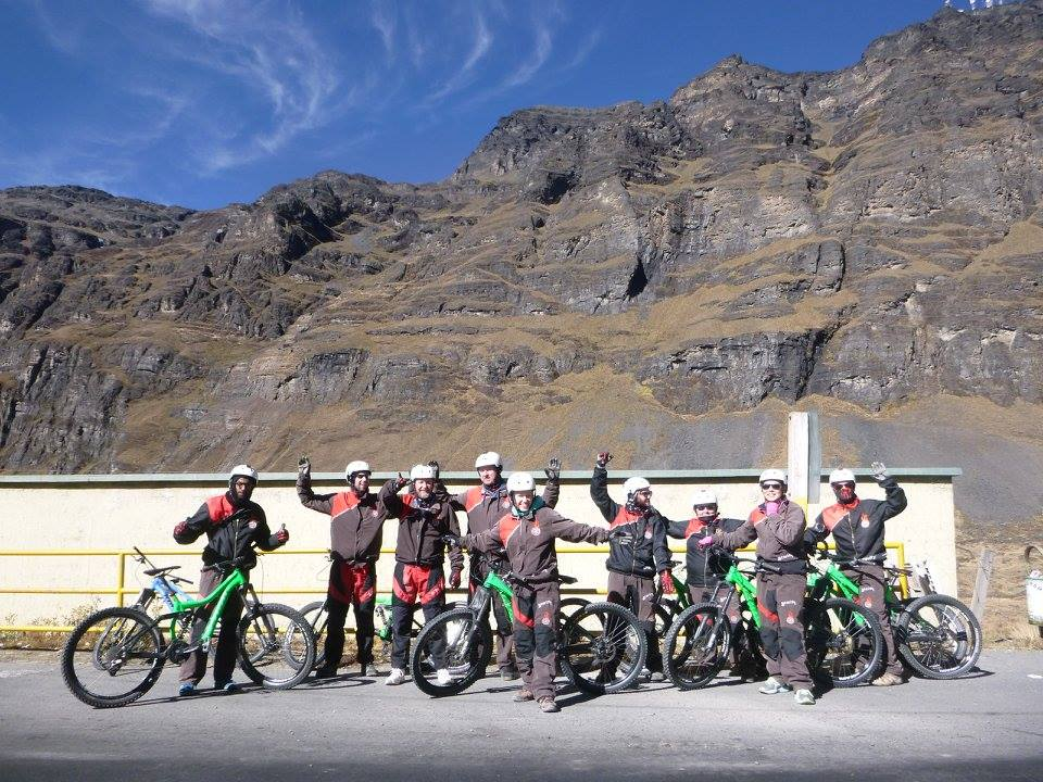 Our group, all layered up at the start of the ride