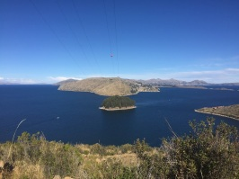 Looking out onto the other islands around Lake Titicaca