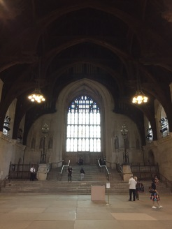 The Great Hall at the entrance to the Houses of Parliament