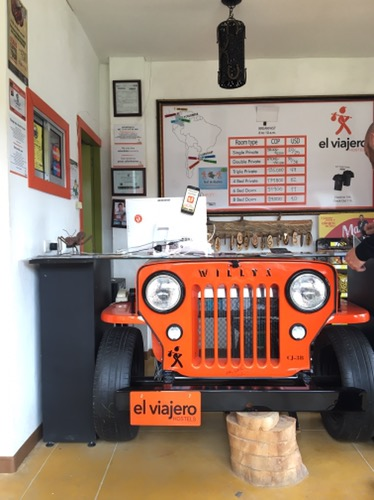 Arriving in at El Viajero hostal's reception desk
