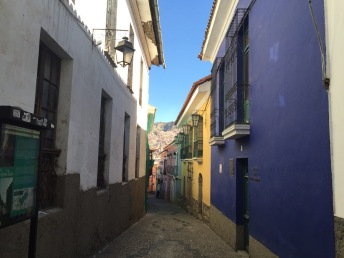 The oldest street in La Paz walking down to the Tour Office