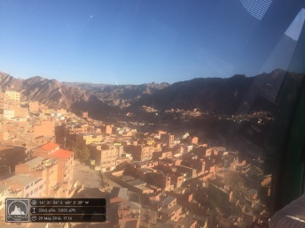 Looking down onto La Paz from the cable car
