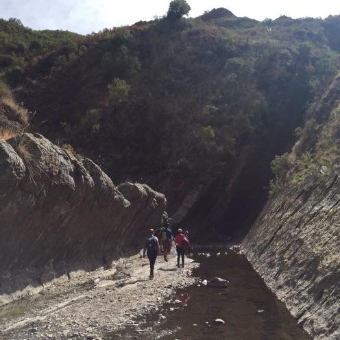 Walking through the canyon