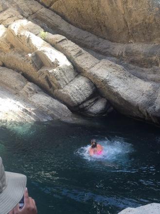 In the waterfalls that we were wandering around