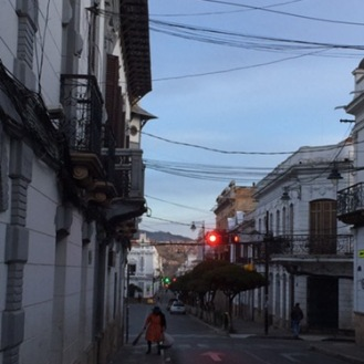 The early morning streets of Sucre