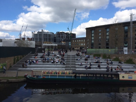 THe steps up from the canal to Granary Square