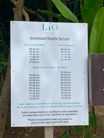 The free shuttle bus from El Nido to Lio Beach